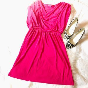 Nine &Co Prink Sleeveless Cowl Neck Cinched Dress